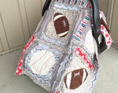 Car Seat Canopy, Sports Rag Quilt Blanket, Red, Blue, Gray, Black. With Footballs and Baseball Sports Made to Order For Boy CUSTOMIZABLE