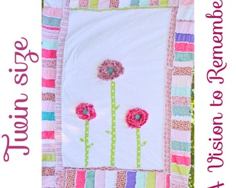 Twin Size RAG QUILT, Pink and Turquoise Ruffled Flowers, Ready to Ship
