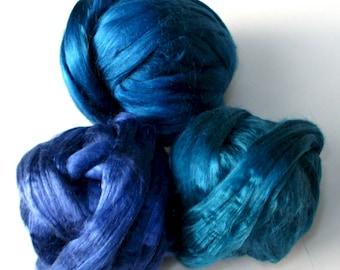 Dyed Mulberry Silk Roving: Blues, for Spinning, Felting, Blending, Fiber Arts, Textile Art, 30 gm
