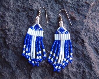 Earrings, Vintage Seed Bead Weaved Dangle Earrings