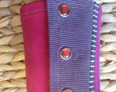 wrist wallet - striped - greyed purple, fuchsia, periwinkle, teal, red, royal purple, crimson - denim - western - M