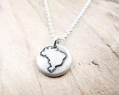 Tiny map of Brazil necklace, silver map jewelry Brazil pendant