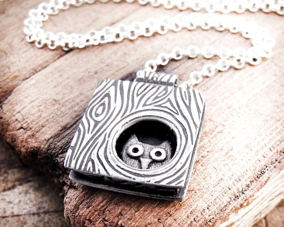 Owl necklace silver, owl in a tree, handmade owl jewelry
