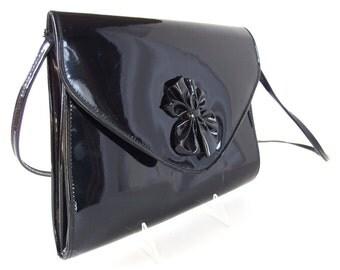 Vintage 1980's Black Patent Leather Look Vinyl Envelope Clutch or Shoulder Bag Purse