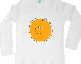 Cotton long sleeve kids t-shirt with screen printed fruit or vegetable design by Bugged Out, made in the USA