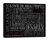 """Typography """"ELITE"""" Series -  Words that describe your mom, Family Gift, Canvas art personalized Words and phrases wall art 20X20"""
