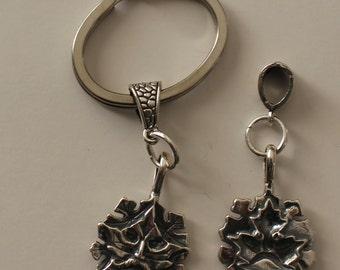 Sterling GREEN MAN Key Ring, Key Chain - Greenman - Celtic
