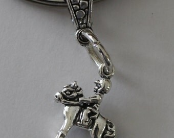 Sterling PONY RIDE Key Ring, Key Chain - Equestrian, Horses, Whoa Team