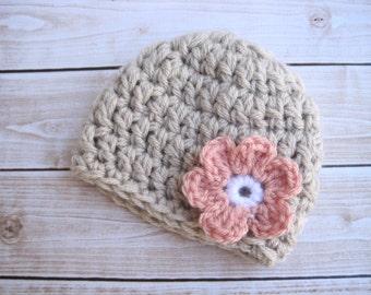 Crochet Baby Girl Flower Hat, Girl Newborn Hat, Infant Coming Home Hat, Baby Hospital Hat, Beanie for Baby Girls, Newborn Baby Cap, Pink