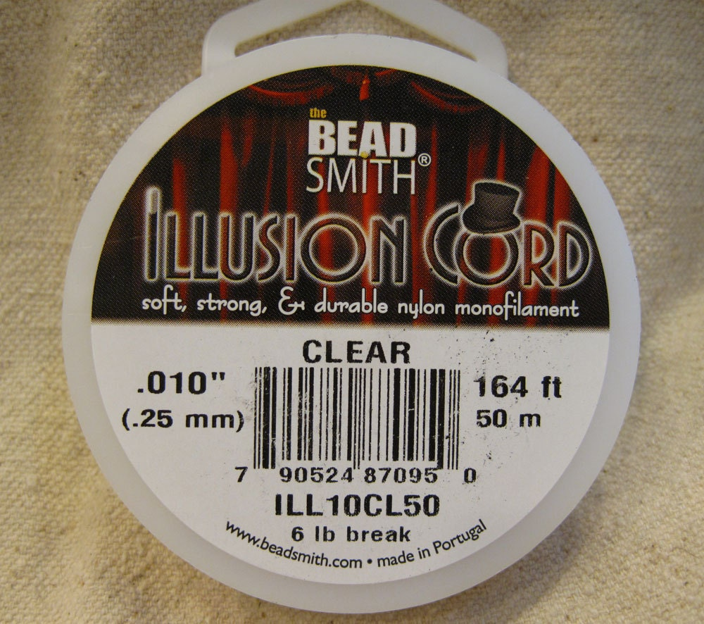 illusion cord clear nylon monofilament 010 inches 164 feet from southpassbeads on etsy studio. Black Bedroom Furniture Sets. Home Design Ideas