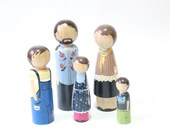 "Custom Family Portrait Personalized Peg Dolls Family of Five // Fully Custom Oversized Peg Dolls 7"" Fair Trade  5 Dolls"