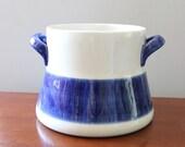 Rörstrand Koka Blue. Vintage Swedish mid century modern bean pot, Hertha Bengston design made in Sweden.