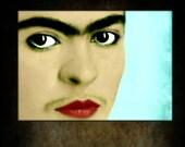 Frida Kahlo Close Up Art Print Instant Digital Download Face Unibrow Moustache Collage Modern Home Decor Aqua Blue Red Black White Portrait