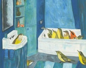 Bath time. Limited edition print of an original oil painting by Vivienne Strauss.
