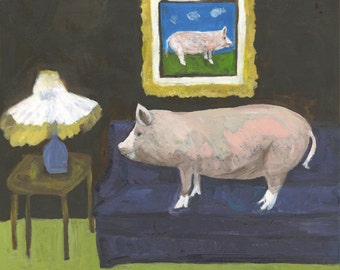 It was as plain as a pig on a sofa. Limited edition print by Vivienne Strauss.