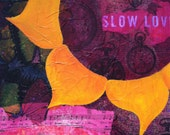 Abstract Orange Yellow and Burgundy Wild Flower Wood Canvas Painting Sheet Music Slow Love Clocks Time