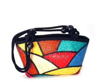 80's COLOR BLOCK bag // summer straw basket purse // vintage bucket bag // patchwork bag