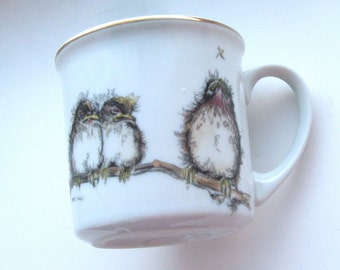 1977 Enesco Child's Cup Mary Mugg Baby Birds Robins