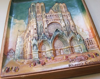 Vintage Rheims Cathedral plaster or chalkware plaque ~~~ Notre Dame de Reims