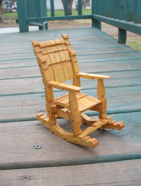 Vintage Wooden Clothespin Doll Rocking Chair Tramp Folk Art