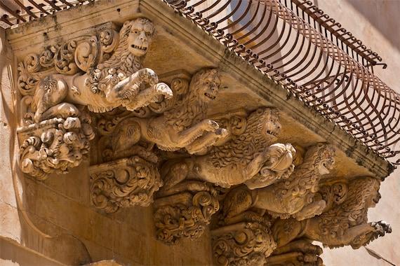 Ornate Carved Balcony  Archival Print