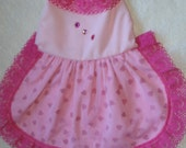 Small Pink Female Dog Dress w/heart overlay on skirt  Free Ship Handmade Uniquepetique Great Gift