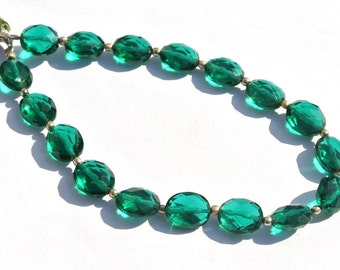 8 Inches AAA Teal Green Quartz Faceted Oval Briolettes Size 10x8mm Approx Oval Beads High Quality Great Price