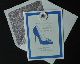 Blue Shoe Friendship Card with Glitter Envelope
