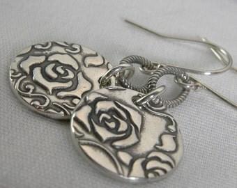 Rose Coin Earrings Sterling Silver