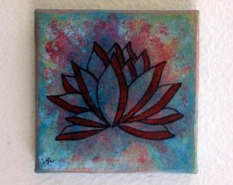 lotus mixed media painting art - lotus 4- by tremundo