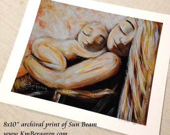Sun Beam, mother and child sun sleeping art print