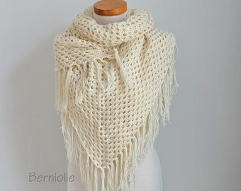 Lace crochet shawl, stole, Creme, Cotton, N316