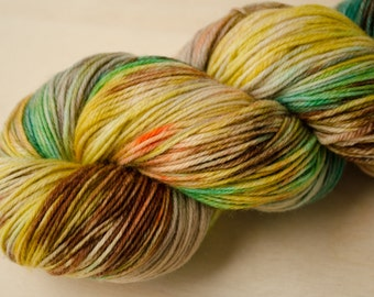 Hand Dyed Sock Yarn - Superwash Merino Wool & Nylon - Fingering Weight - Sock - Forest