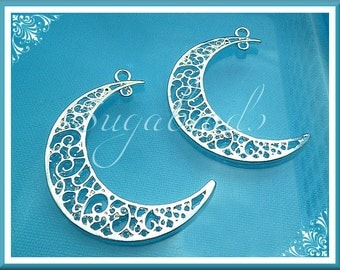 4 Bright Silver Moon Pendants, Crescent Moon Pendants, Filigree Moon Pendants, 42mm PS50