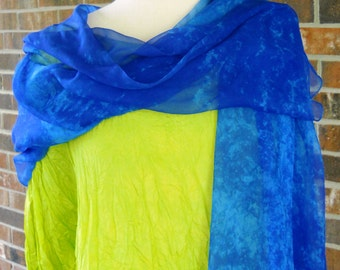 Cobalt Blue Silk Chiffon Long Wrap