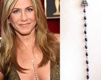 Leaf Necklace,Jennifer Aniston Inspired Necklace, Hematite Necklace,Celebrity Inspired Necklace