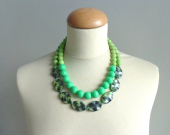 chunky Green necklace double strand