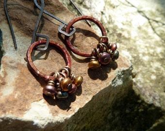 Moonbeam* Organic Hammered Earrings Wire Wrapped Metallic Czech Glass Plum Bronze Blue Green Burgundy Earrings Open Rustic Ring Jewelry