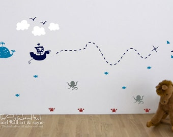 Pirate Treasure Map Room Decor Kit - Sea Creatures - Boys Bedroom Nursery - Vinyl Lettering - Vinyl Wall Art Graphics Decals Stickers 1770