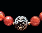 Moroccan Bronze Beads & Faceted Carnelian