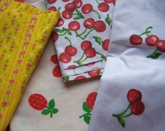 fruit and hearts fabric scraps