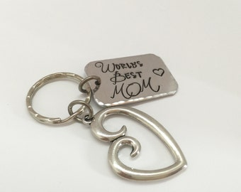 Personalized Keychain Hand Stamped Keychain - Mother & Child - Worlds Best Mom Grandma - New Grandma Gift - Mothers Gift - Engraved Keychain