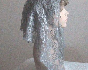 Gray Lace Mantilla Headcovering Triangle Chapel Veil -- ECONOMICAL Style Number -- Ready to Ship!