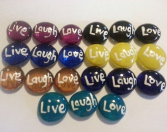 Hand painted Glass Gems party favors mini art Live Laugh Love