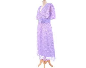 NOS Vintage Surplice Dress 80s Miss Elliette Lavender Purple Lace Unworn size Medium Large Tea Length Mother of the Bride