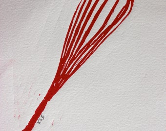Red Whisk - 8 x 10 linocut print