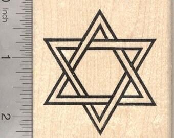 "Large Star of David Rubber Stamp, Jewish, 2 1/4"" Tall Image J26410 Wood Mounted"
