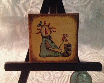 """Hand Painted Mini 2"""" x 2"""" Painting with Easel - Prim Annie with Flower"""