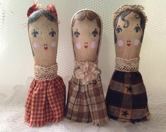 Set of 3 Hand-made Prim Peg Doll - Primitive Make-Do Doll