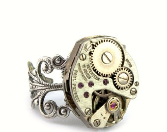 Steampunk Jewelry Steampunk Ring Steam Punk Ring Silver Filigree Ring designed by London Particulars